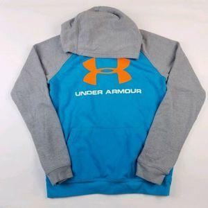 Boys Under Armour Hoodie SZ XL Blue Gray Orange
